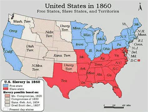map of us states in 1820 free states montessori eii social studies