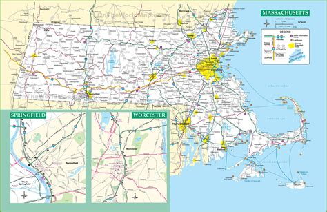 map massachusetts massachusetts road map