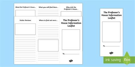 layout of a leaflet ks2 the professor s house leaflet writing template scottish cfe