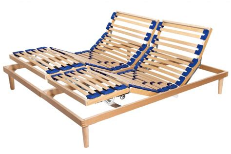 electric adjustable slatted bed base active in solid beech wood