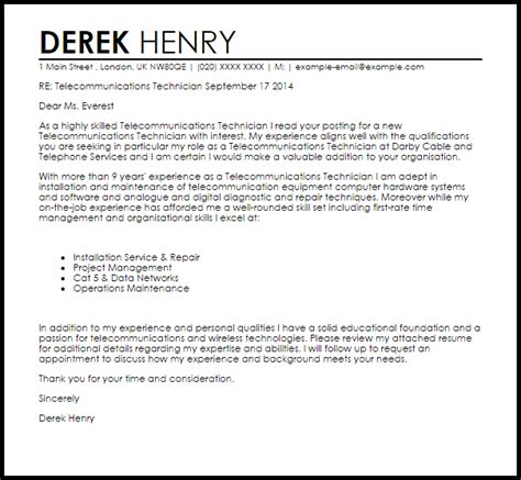 network technician cover letter cover letter for network technician