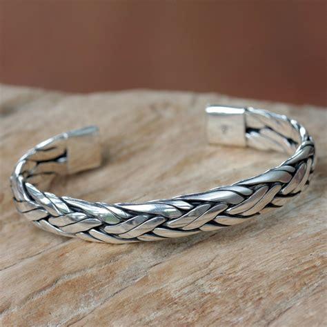 unicef uk market braided sterling silver cuff bracelet  bali singaraja weave