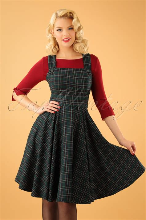 40s swing 40s peebles pinafore tartan dress in green