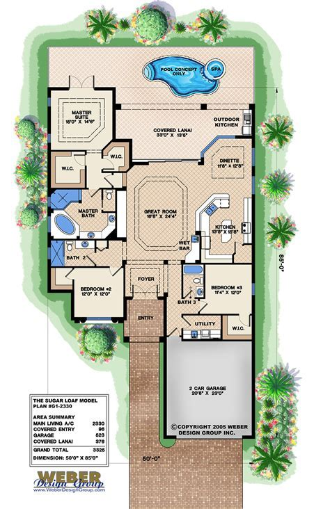 Mediterranean House Plan: Narrow Lot Golf Course Home