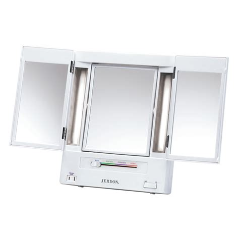 tri fold lighted makeup mirror jerdon jgl9w tabletop tri fold 5x to 1x lighted makeup
