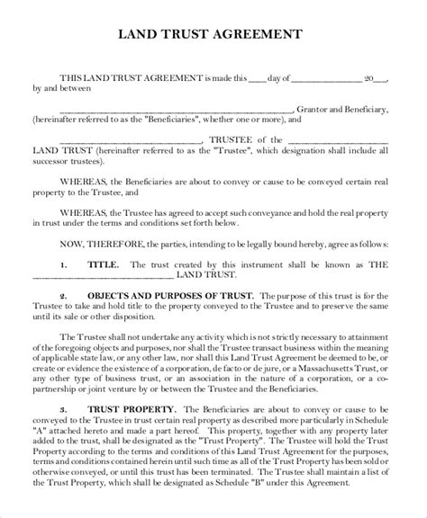 8 Sle Land Forms Sle Templates Land Trust Agreement Template
