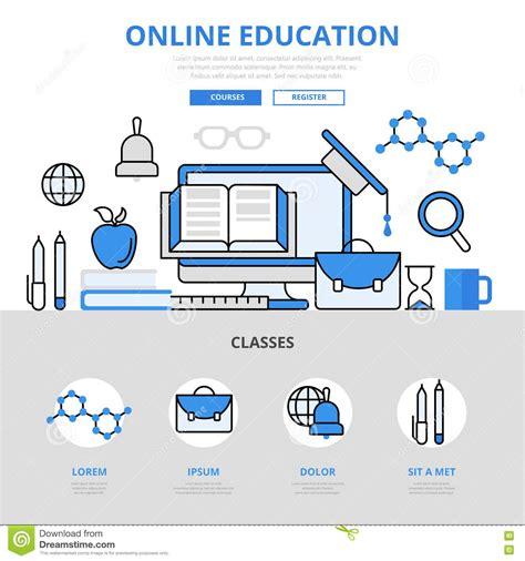 online design qualifications online education course library concept flat line art