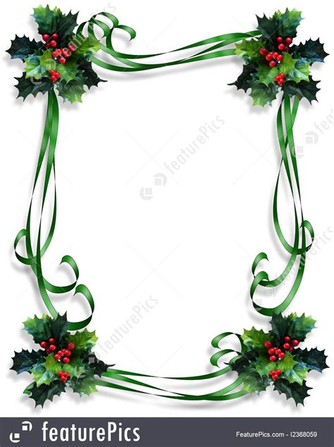 holidays christmas holly border ribbons stock