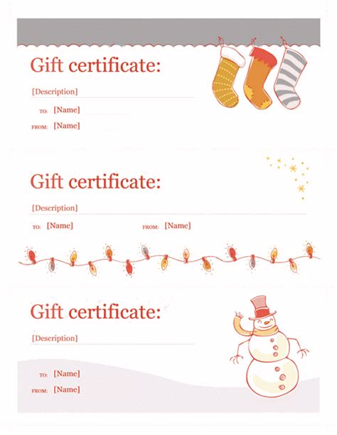 holiday gift certificate template word christmas free