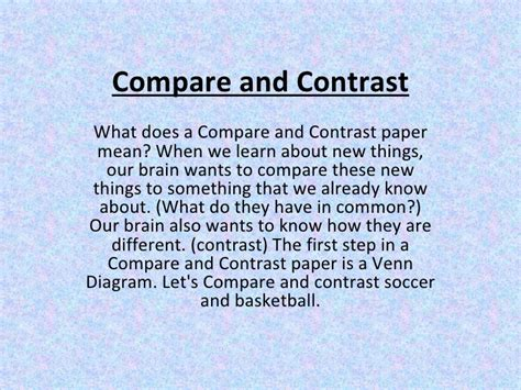 How Do You Start A Compare And Contrast Essay by Compare And Contrast