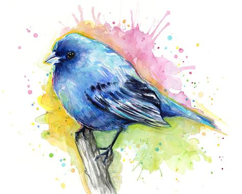 Best Shower Curtain - indigo bunting blue bird watercolor painting by olga shvartsur