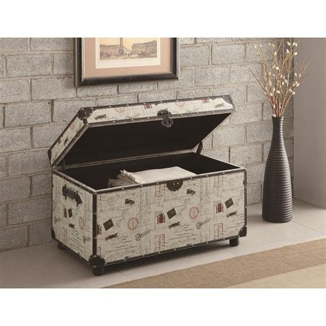 Home Decor Trunks Coaster Furniture 950168 Postage Print Storage Trunk In White Homeclick