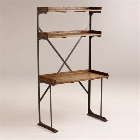wood and metal shelved asher desk industrial desks and