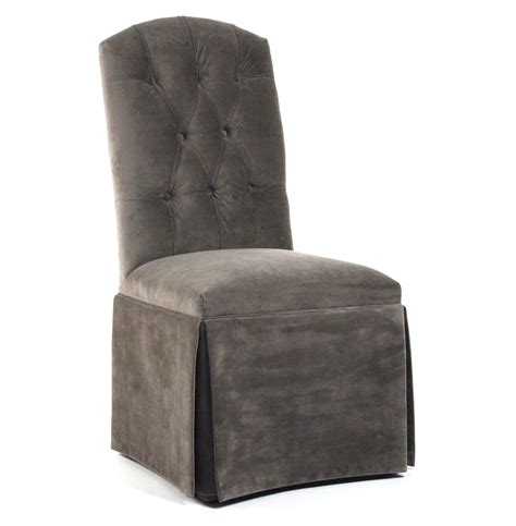 Skirted Dining Room Chairs Raquel Regency Skirted Pewter Cotton Velvet Dining Chair Kathy Kuo Home
