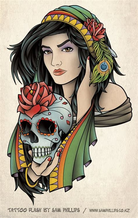 gypsy head tattoo designs flash