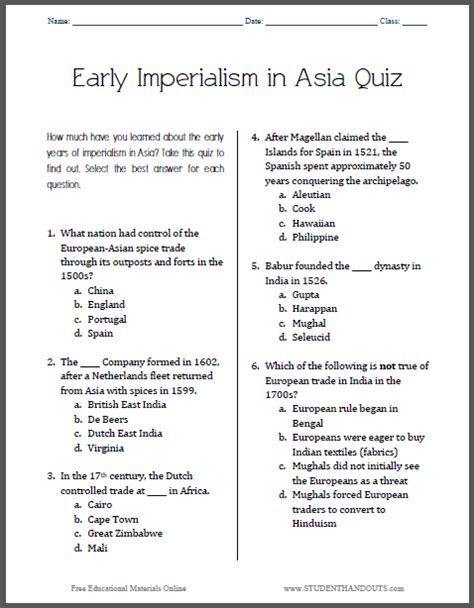 printable organization quiz for students early imperialism in asia pop quiz for grades 9 12