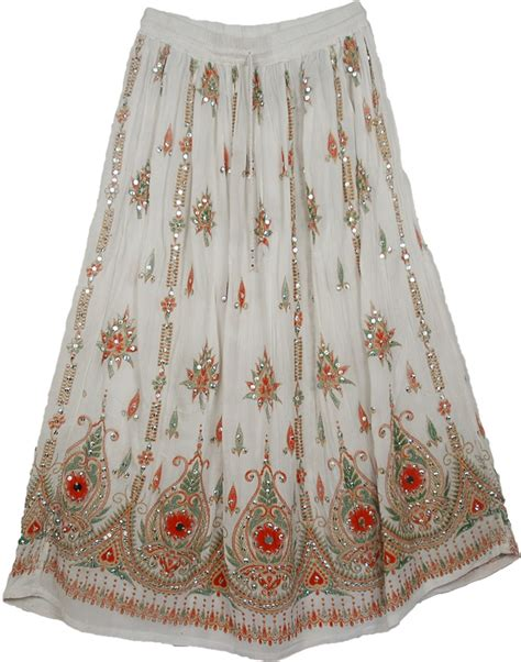 Indian Skirt 5 sequined womens skirt in white from india sequin skirts sale on bags skirts jewelry