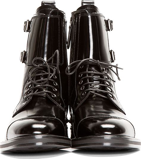Paneled Buckled Flats lyst valentino black patent leather buckled stud boots