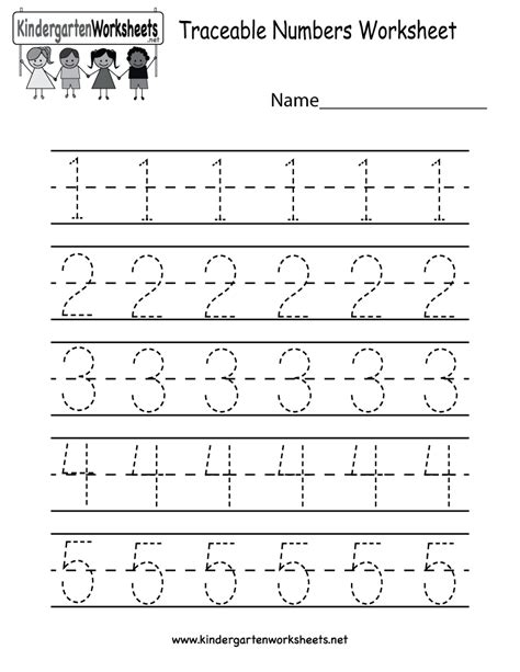 free printable kindergarten numbers kindergarten traceable numbers worksheet printable