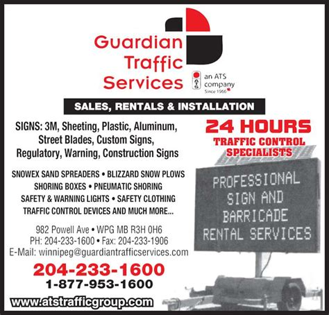 Guardian Services Guardian Traffic Services Manitoba Ltd Winnipeg Mb