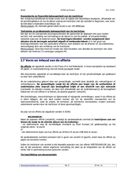 voorbeeld plaatsbeschrijving bestek huur directiewagens ocmw brussel