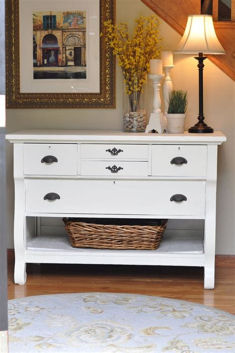 Entryway Table With Drawers Paint A Dresser Take Out Bottom Drawer Add Baskets And There Is An Awesome Accent Table Entry