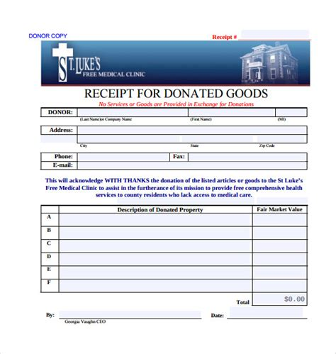 goods donation receipt template 23 donation receipt templates pdf word excel pages