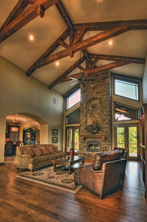 cozy dining room great rooms  vaulted ceilings stone
