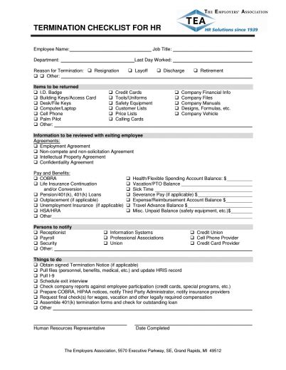 termination checklist template termination checklist template excel pdf