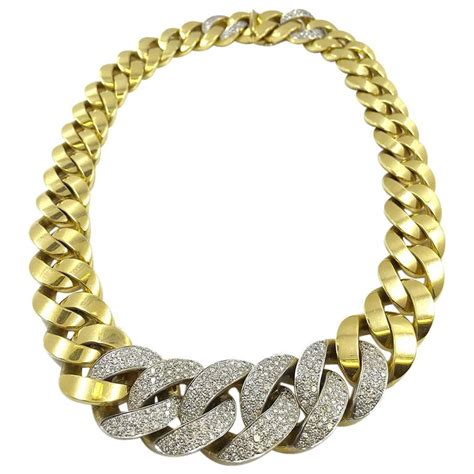 italian gold cuban link necklace with chain at 1stdibs