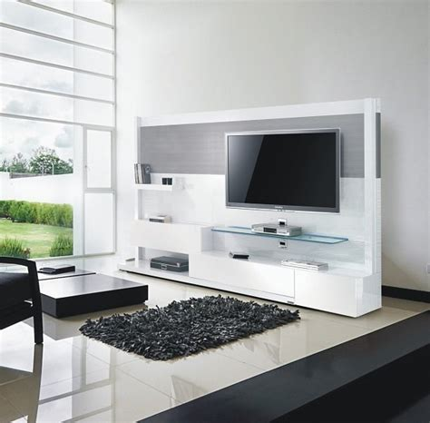 Tv Unit Design meuble tv mural blanc et inox 240 cm miraz 04 meuble design