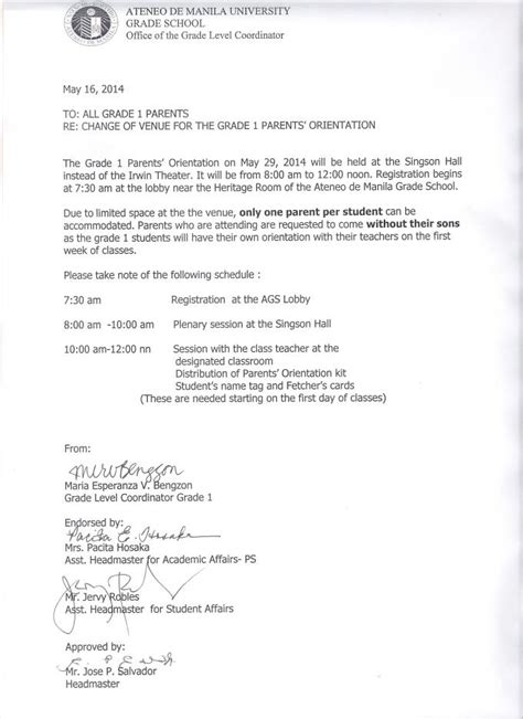 Grade 1 Parents Orientation Change Of Venue Ateneo De