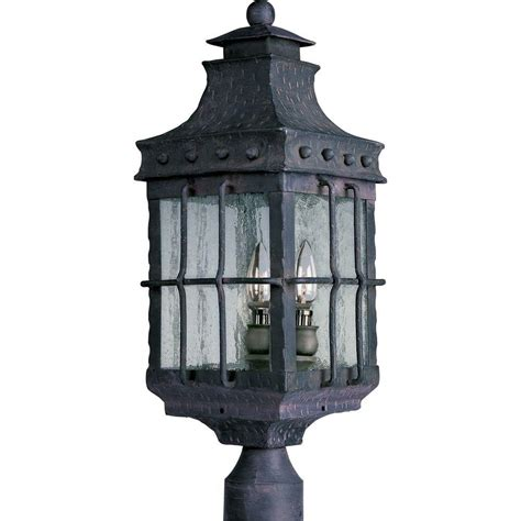Maxim Lighting Nantucket 3 Light Country Forge Outdoor Outdoor Lighting Post Mount
