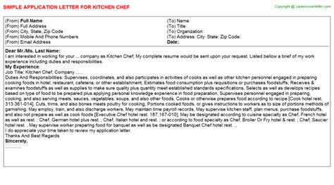application letter for in kitchen kitchen chef application letters sles