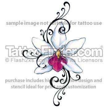 orchid design tattoo pinterest