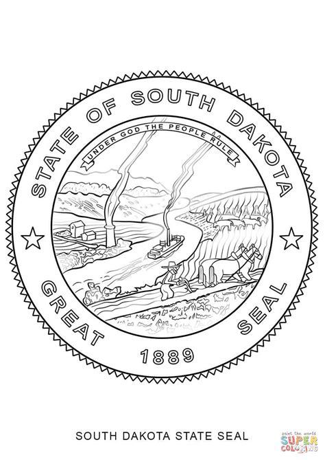 south dakota state seal coloring page free printable