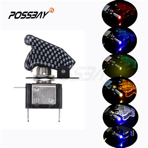 Carbon Fiber 12v 20a Led Light Car Truck Led Toggle Switch 12v Led Lights Cing