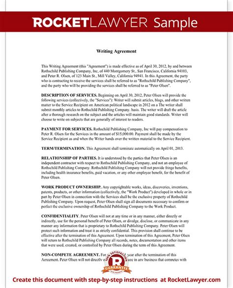 freelance agreement template freelance writer contract template with sle