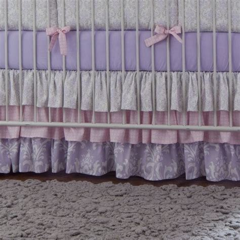 Crib Skirt Gray by Lilac And Silver Gray Damask Crib Skirt Baby Bedding