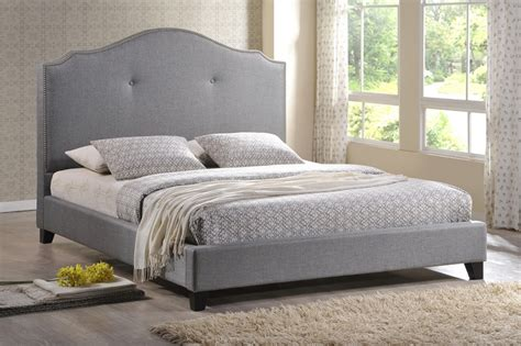 gray upholstered headboard king baxton studio marsha scalloped gray linen modern bed with upholstered headboard king size