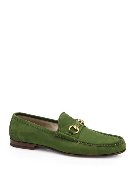 green mens loafers gucci 1953 suede horsebit loafers in green for lyst