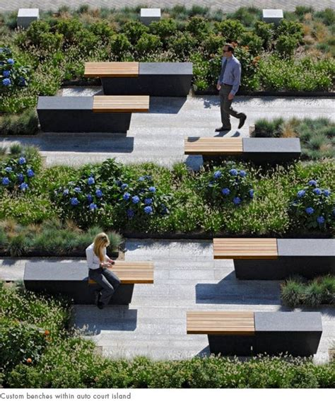 architectural benches custom benches within auto court island landscape by design pinterest design
