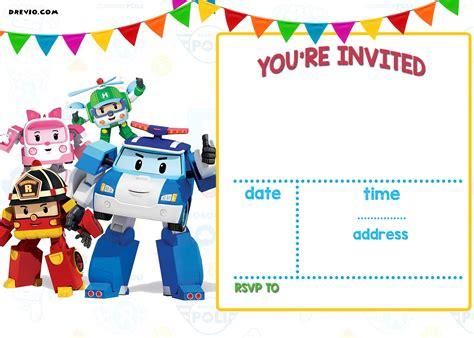 printable robocar poli invitation template