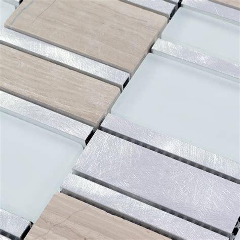 Brushed Aluminum Tile Backsplash by And Glass Tile Brushed Aluminum Silver Metal Wall