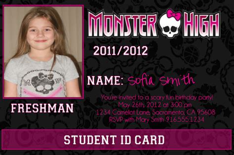 printable monster high student id cards printable monster high photo id card birthday invitation