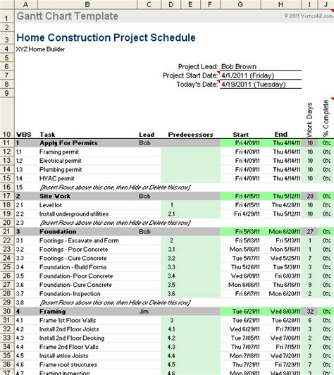 Free Gantt Chart Template For Excel House Construction Timeline Template