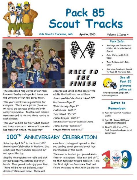 boy scout newsletter template newsletter cub scout pack 85 florence mississippi
