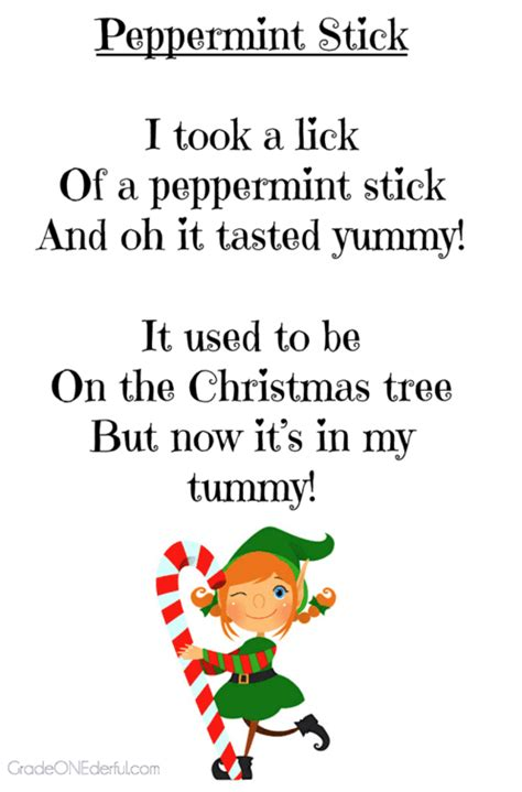 christmas poems for young children grade onederful