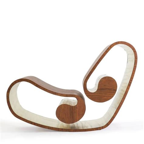 Handmade Rocking For Sale - voluta wood and brass handmade rocking chair for sale at