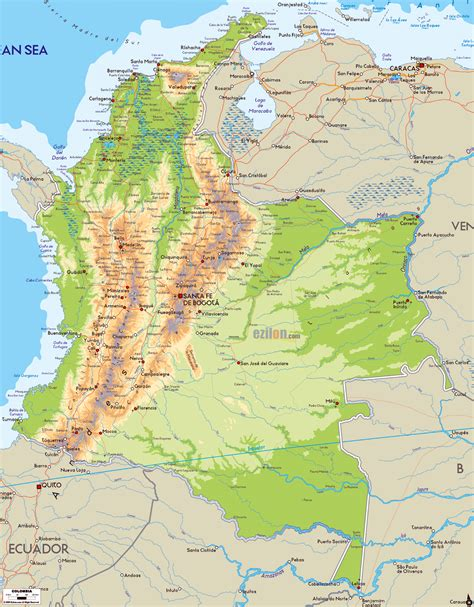 physical map of colombia detailed physical map of colombia with roads cities and